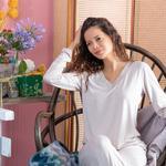 Pure Viskon Bayan Pijama Takımı S-m Bej