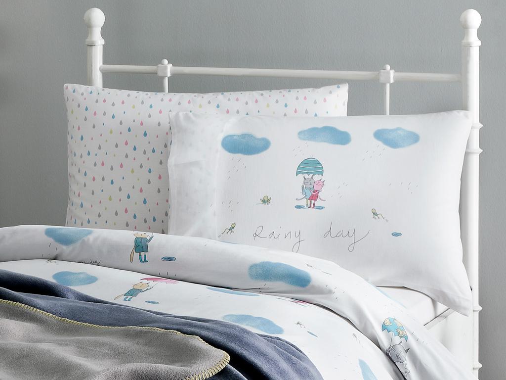 Lovely Cats Pamuklu 2'li Çocuk Yastık Kılıfı 50x70 Cm Mavi