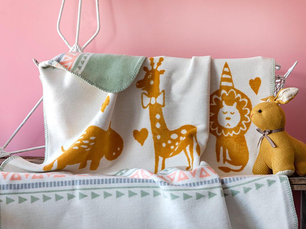 Happy Afrika Pamuklu Bebe Battaniye 100x120 Cm Sarı