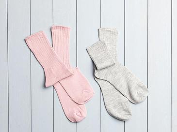 Sleep Well Akrilik 2li Uyku Çorabı Çorap 36-38 Gri - Pembe