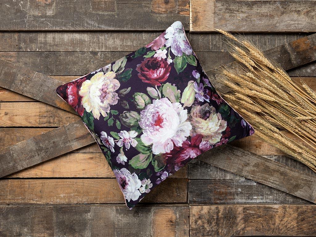 Floral Rose Kırlent 45x45 Cm Mor