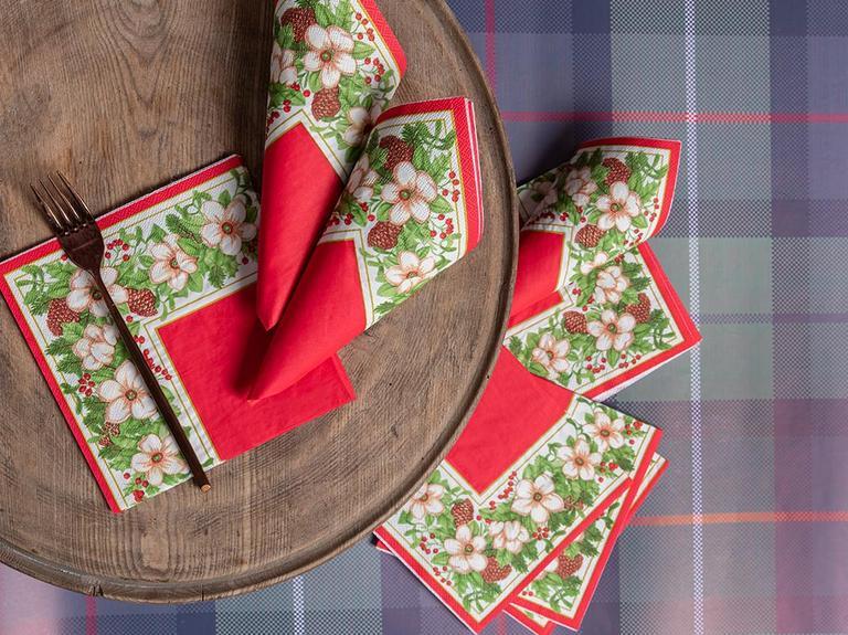 Kokina Kağıt 22 Adet Kağıt Peçete 33x33 Cm Kırmızı