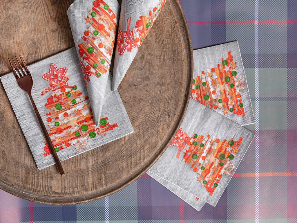 Winter Tree Kağıt 22 Adet Kağıt Peçete 33x33 Cm Gri