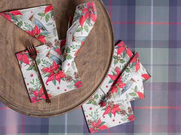 Red Flowers Kağıt 22 Adet Kağıt Peçete 33x33 Cm Kırmızı