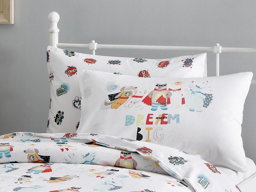 Super Animals Pamuklu 2'li Çocuk Yastık Kılıfı 50x70 Cm Seledon