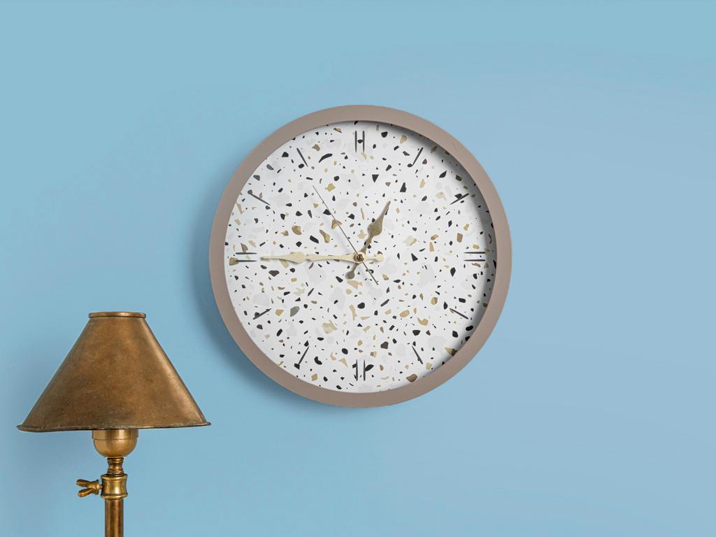 Terazzo Cam Plastik Duvar Saatı 30 Cm Bej