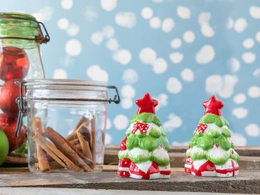 Christmas Tree Seramik 2 Parça Tuzluk - Bıberlık 6x5x9 Cm Kırmızı - Yeşil