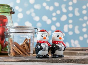 Happy Penguins Seramik 2 Parça Tuzluk - Bıberlık 6,5x5x9 Cm Kırmızı - Beyaz
