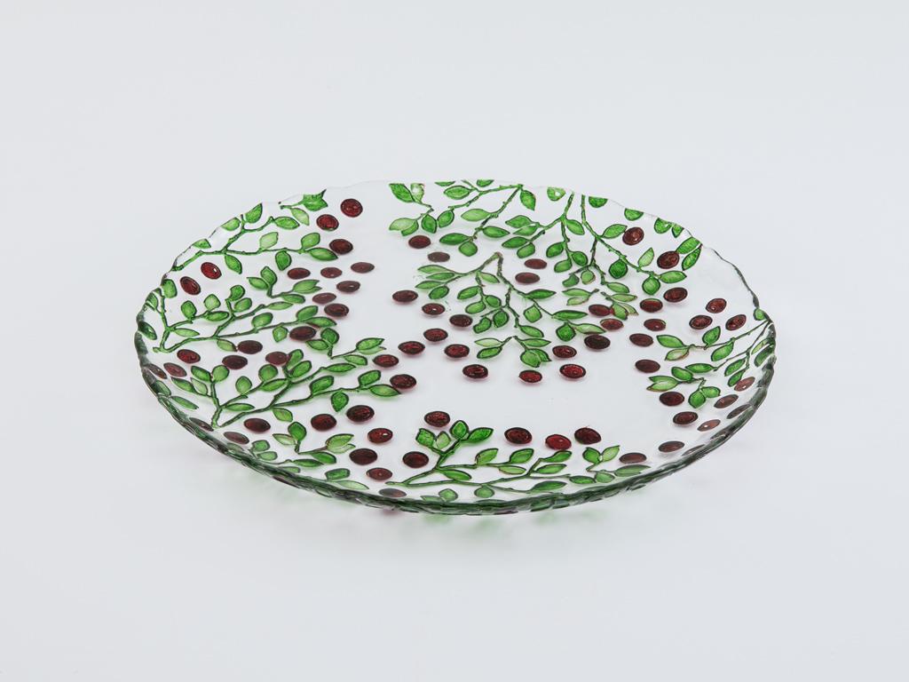 Berry Cam Servis Tabağı 27 Cm Kırmızı - Yeşil