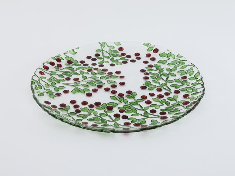 Berry Cam Servis Tabağı 33 Cm Kırmızı - Yeşil