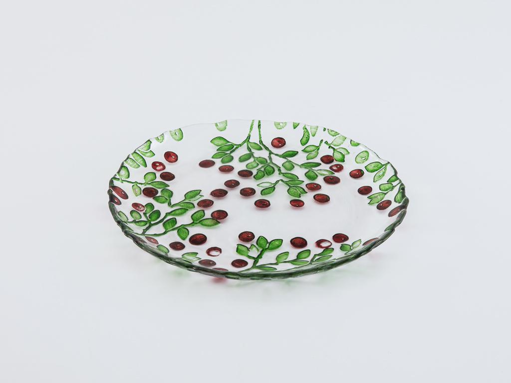 Berry Cam Pasta Tabağı 20x8x3 Cm Kırmızı - Yeşil