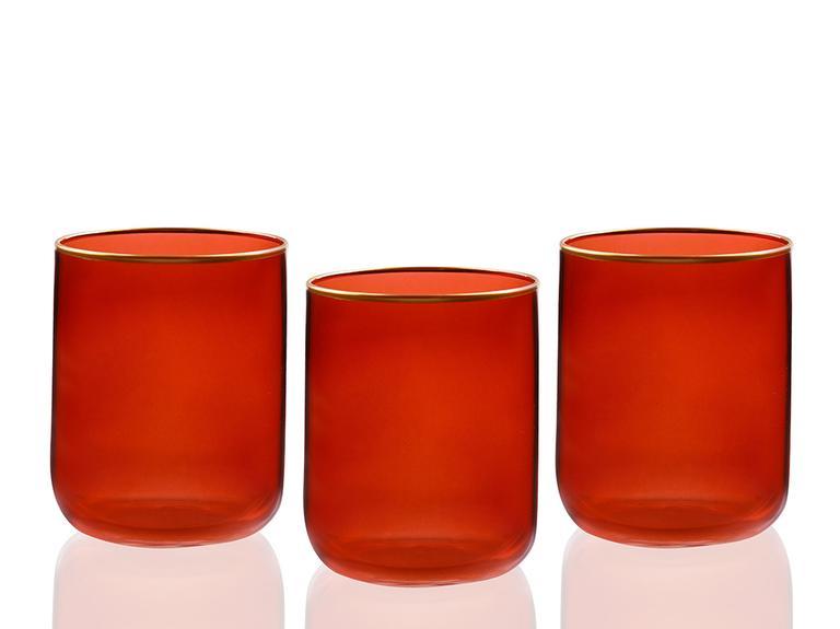 Karla Cam 3'lü Meşrubat Bardağı 270 Ml Kırmızı