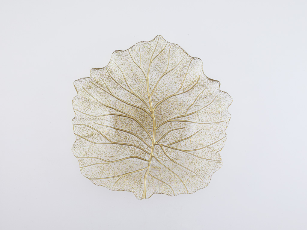 Autumn Leaf Dekoratif Tabak 28 Cm Gold