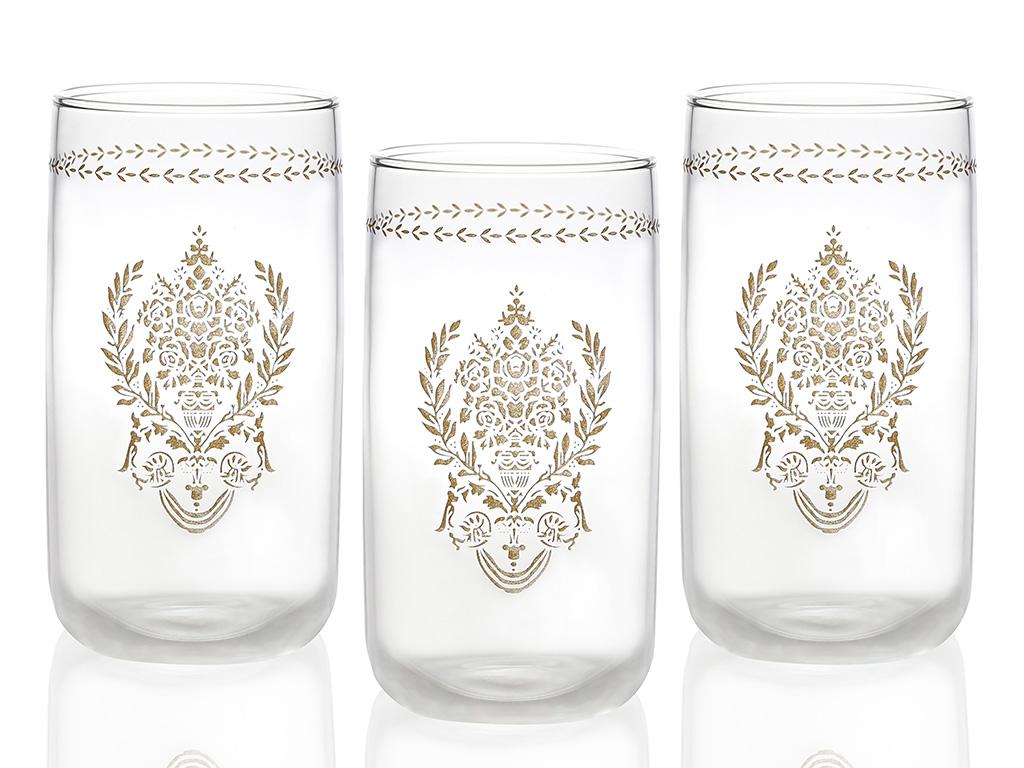 Ena Cam 3'lü Meşrubat Bardağı 365 Ml Gold