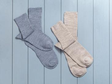 Sleep Well Akrilik 2Li Uyku Çorabı Çorap 39-41 Bej-İndigo
