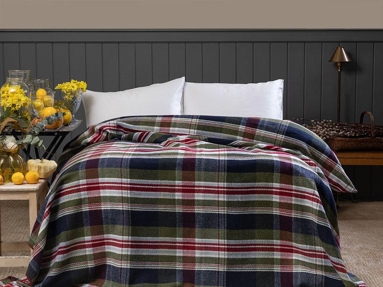 Salford Scotch Çift Kişilik Battaniye 200x220 Cm Lacivert