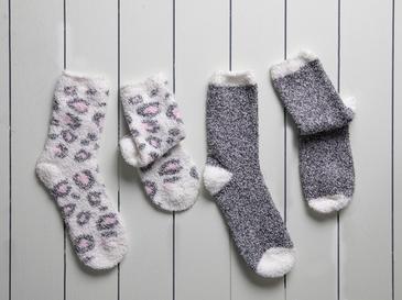 Leo Peluş Kadın 2'li Çorap 39-41 Gri