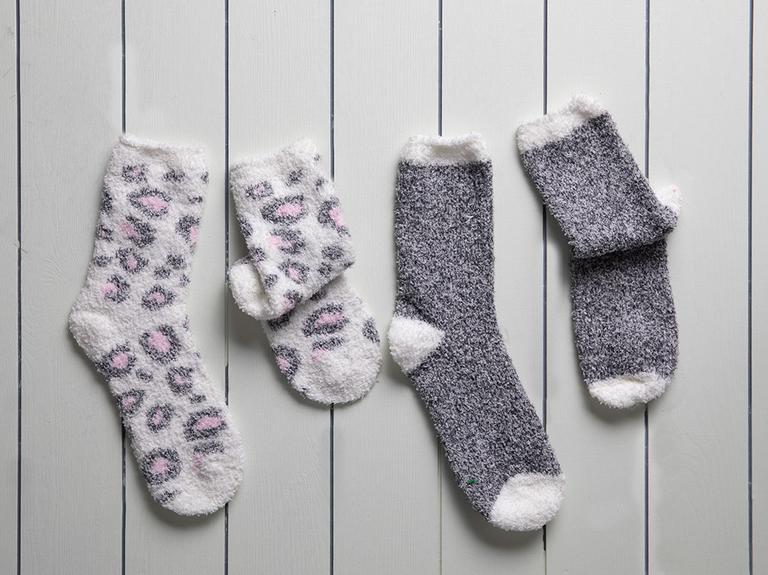 Leo Peluş Kadın 2'li Çorap 36-38 Gri