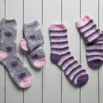 Stripe Polyester Bayan 2'li Çorap 36-38 Mor