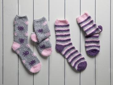 Stripe Peluş Kadın 2'li Çorap 39-41 Mor