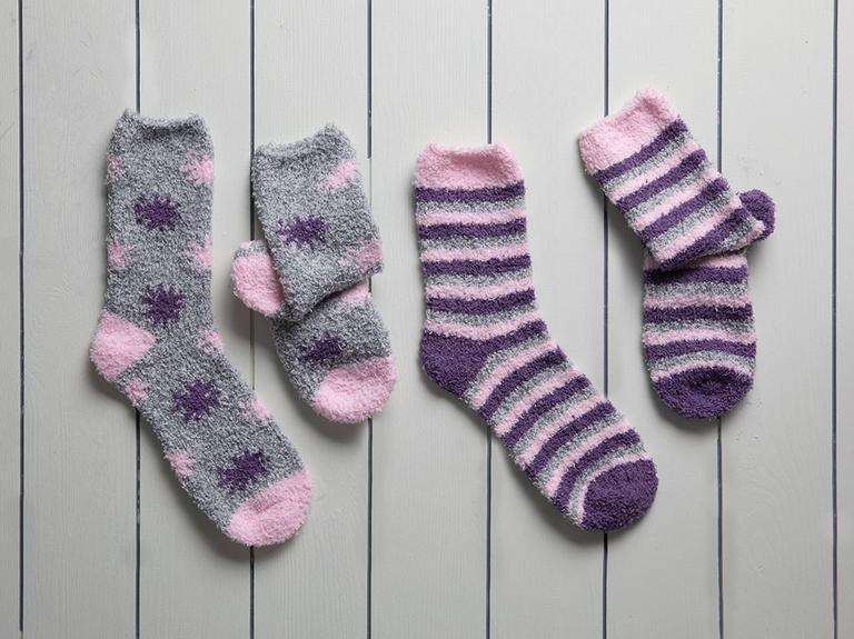 Stripe Peluş Kadın 2'li Çorap 36-38 Mor