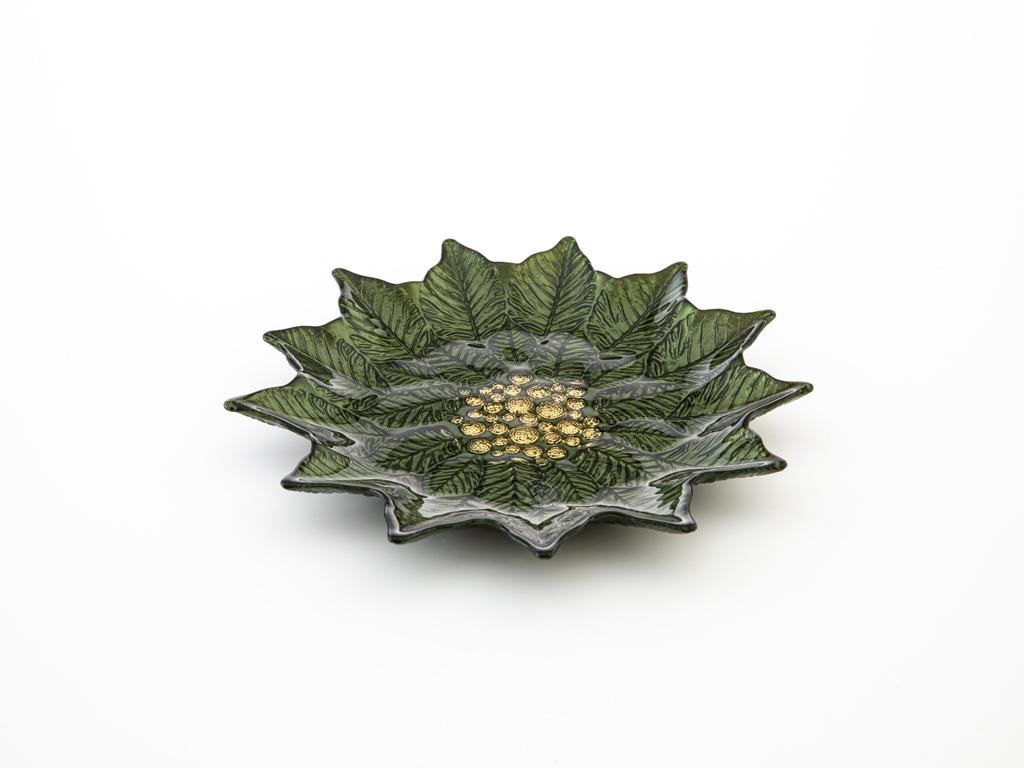Poinsettia Cam Pasta Tabağı 24 Cm Yeşil