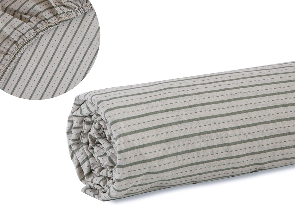 Urban Stripe Pamuklu King Size Lastikli Çarşaf 200x200 Cm Adaçayı Yeşili