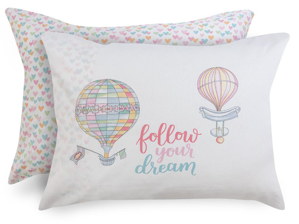 Lovely Balloon Pamuklu 2'li Çocuk Yastık Kılıfı 50x70 Cm Pembe