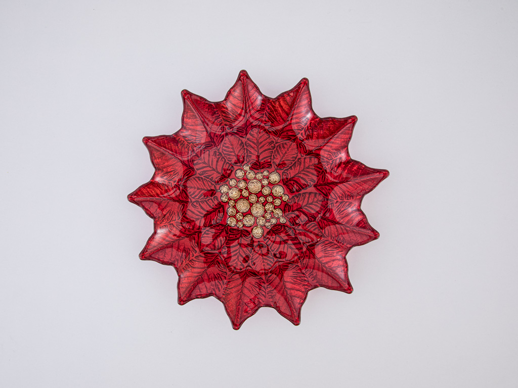 Poinsettia Cam Pasta Tabağı 24 Cm Kırmızı