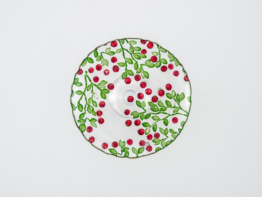 Berry Cam Kek Standı 20x8x3 Cm Kırmızı - Yeşil