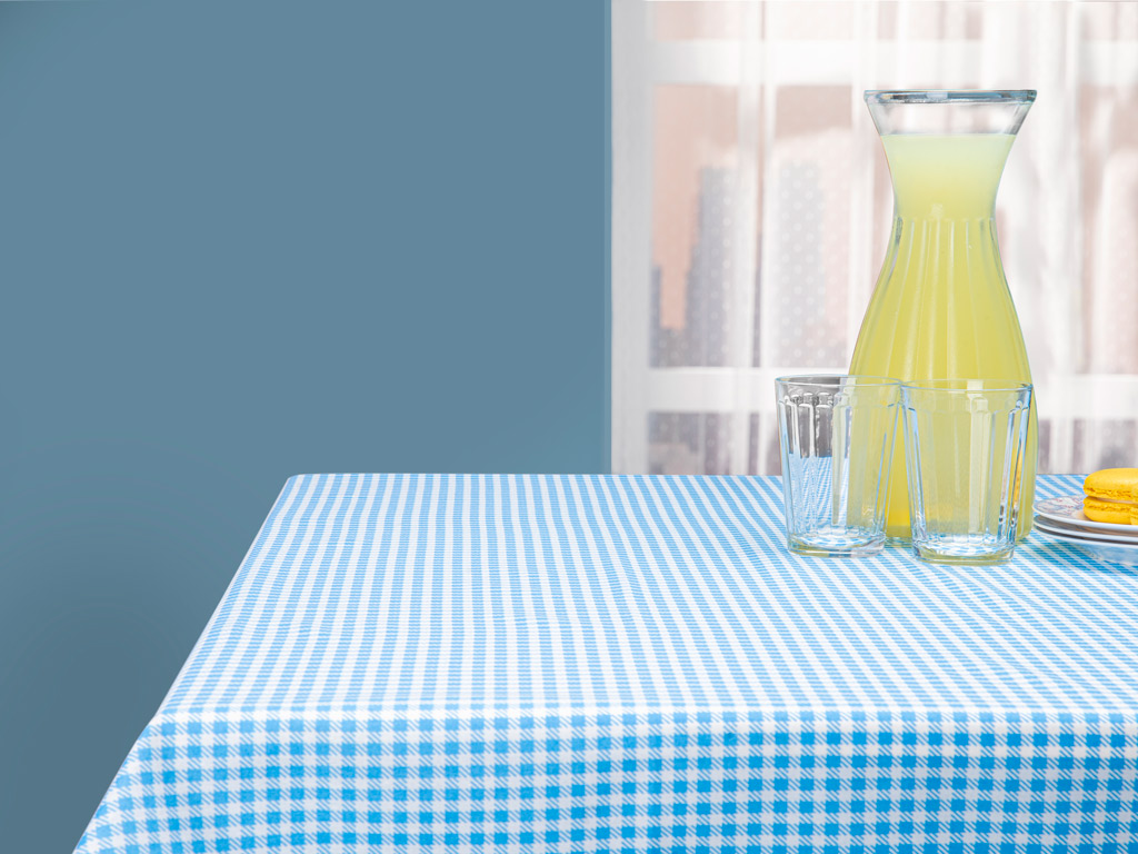 Piknik Pamuk Polyester Dikdörtgen Masa Örtüsü 100x140 Cm Beyaz - Mavi
