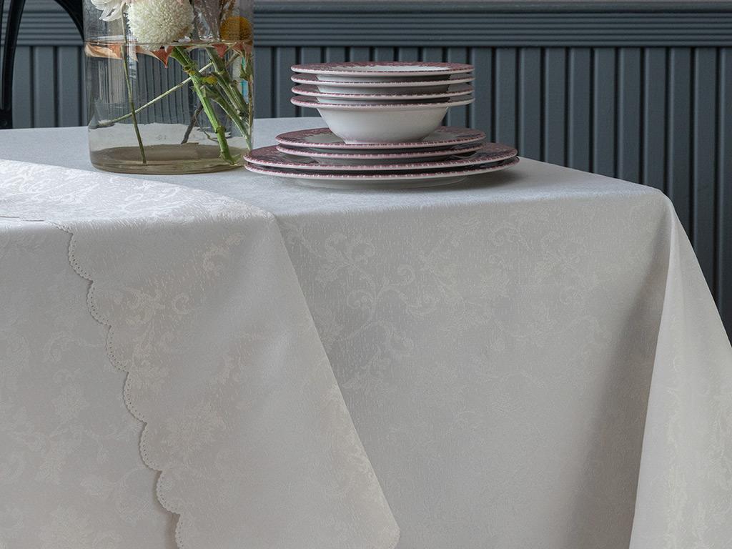 Carla Polyester Masa Örtüsü 150x200 Cm Taş Rengi