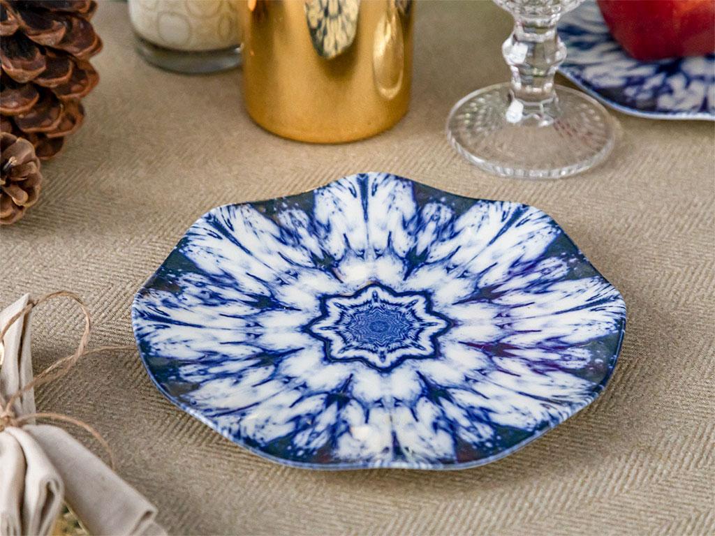 Victory Bone Porselen Pasta Tabağı 19 Cm Mavi