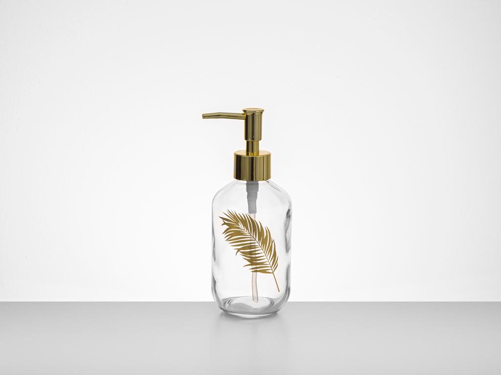 Feathers %95 Glass %5 Abs Banyo Sıvı Sabunluk 7,2x18,5 Cm Gold