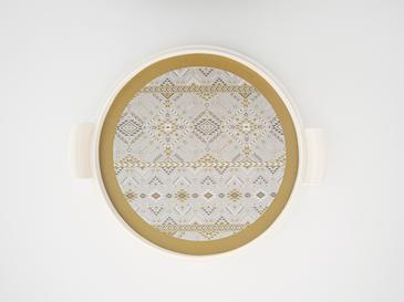 Ethnic Melamin Kek Fanus 31 Cm Beyaz - Gri