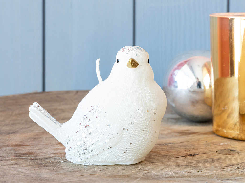 Winter Bird Mum 8,3x5,8x6,5 Cm Beyaz