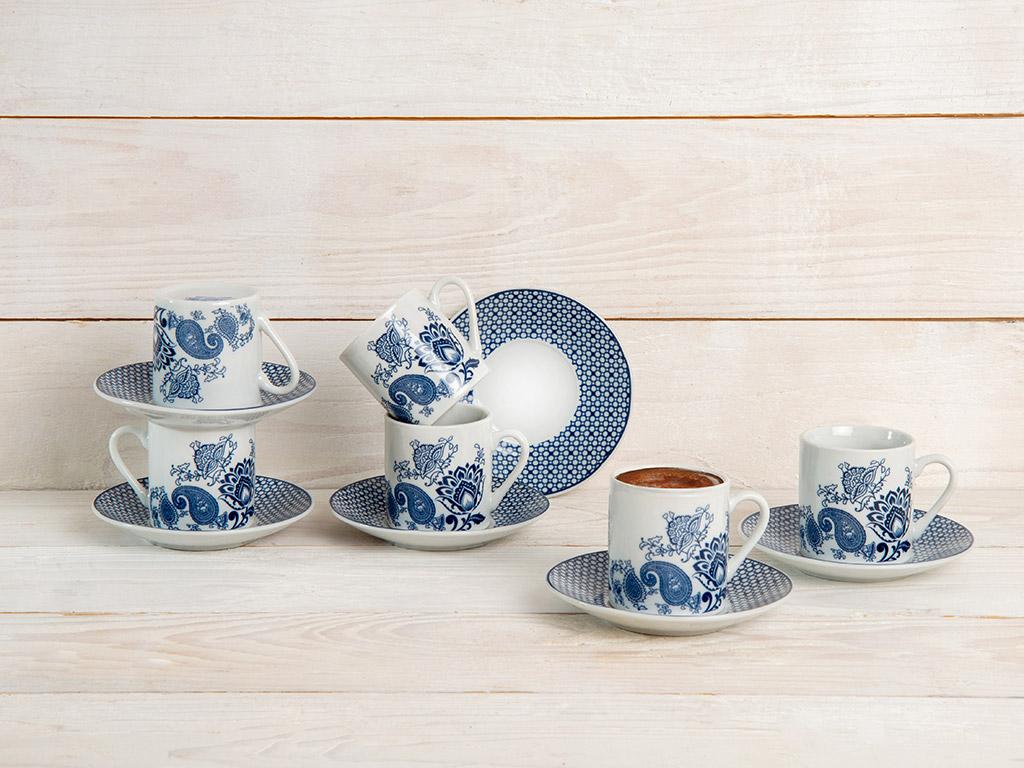 Bloom Porselen 6'lı Kahve Fincan Takımı 80 Ml Mavi