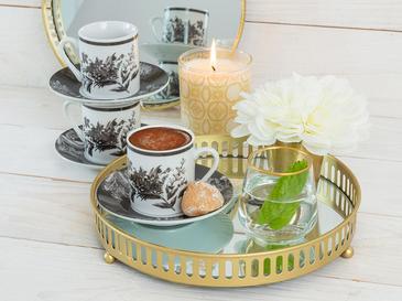 Bunchy Porselen 6'lı Kahve Fincan Takımı 80 Ml Koyu Gri