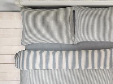 Pure Cotton İpliği Boyalı Pamuklu King Size Nevresim Takımı 240x220 Cm Mavi