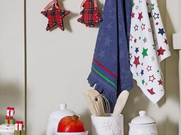 Christmas Pamuk 2'li Kurulama Bezi 40x60 Cm Beyaz - Lacivert