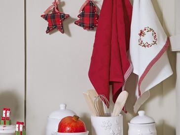 Christmas Ball Pamuk 2'li Kurulama Bezi 40x60 Cm Beyaz - Kırmızı