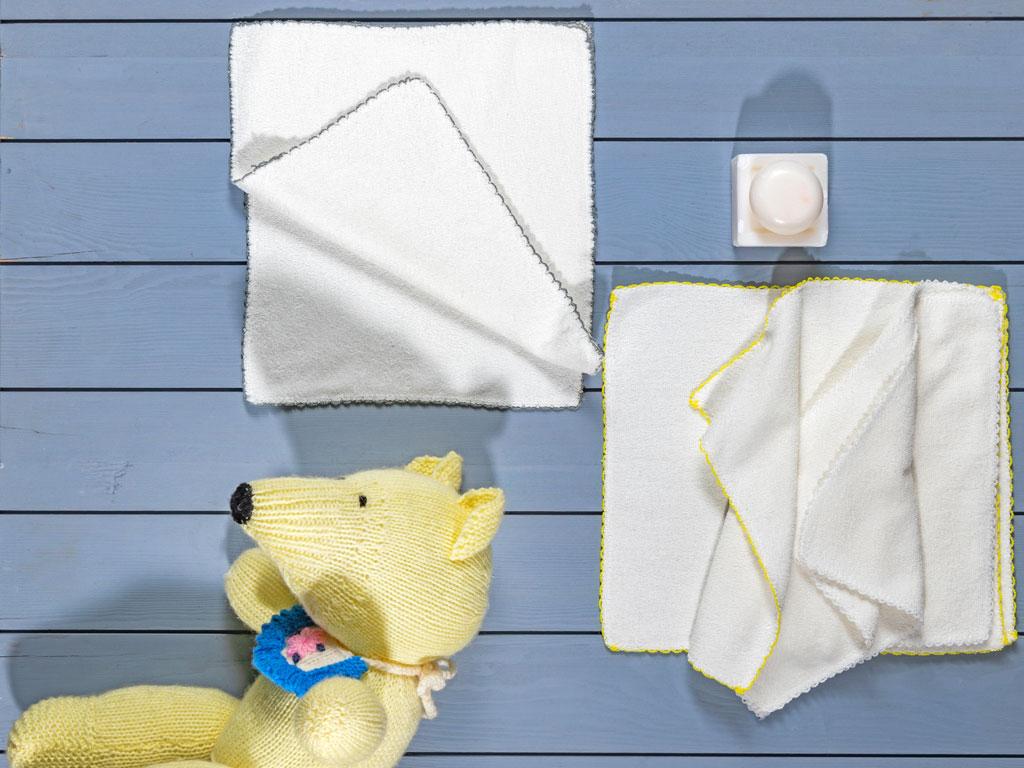 Towel Set Prosop din Bumbac Pentru Bebe 6 Piese 28x28 Cm Crem 10027868001