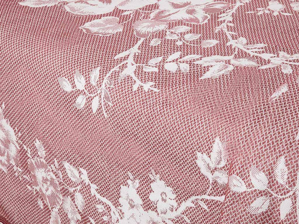 Ruby Rose Jakarlı Tek Kişilik Yatak Örtüsü Takımı 150x230 Cm Bordo