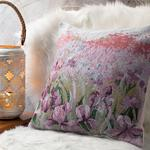 Iris Pallida Goblen Kırlent 45x45 Cm Lila