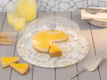 Laura Cam Yuvarlak Kapaklı Kek Fanus 33 Cm Beyaz - Gri