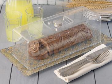 Rosena Cam Dikdörtgen Kapaklı Kek Fanus 20x40 Cm Sarı