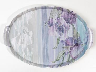 Flower Melamin Oval Tepsi 43x29 Cm Krem - Mor