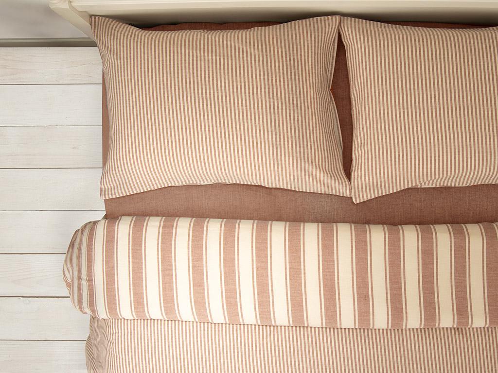 Pure Cotton İpliği Boyalı Pamuklu Çift Kişilik Nevresim Takımı 200x220 Cm Tarçın