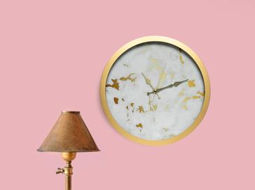 Fancy Marble Cam Duvar Saati 30 Cm Beyaz- Altın