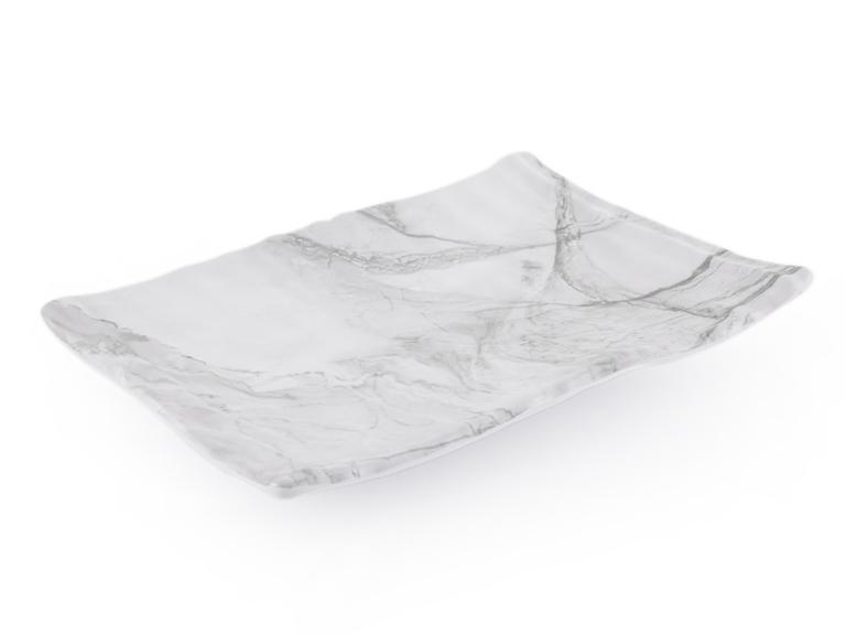 Wooden Melamin Dikdörtgen Büyük Servis Tabağı 31X22 Cm Beyaz - Gri